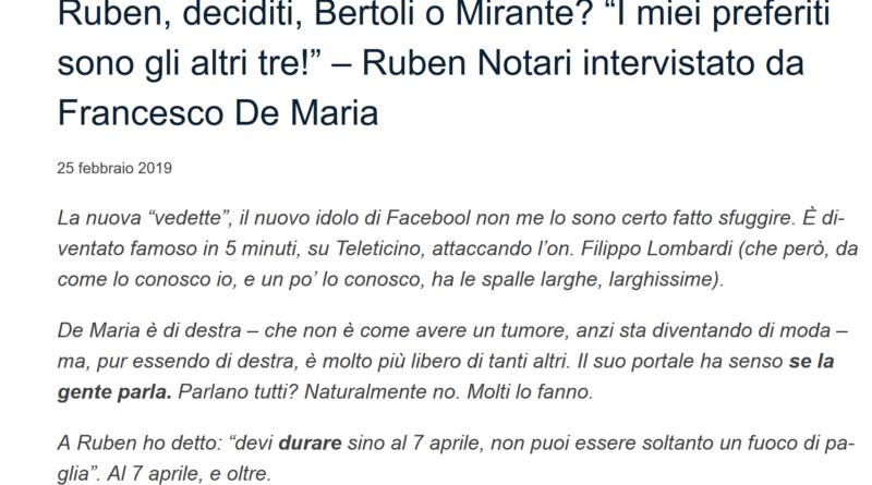 Intervista su TicinoLive