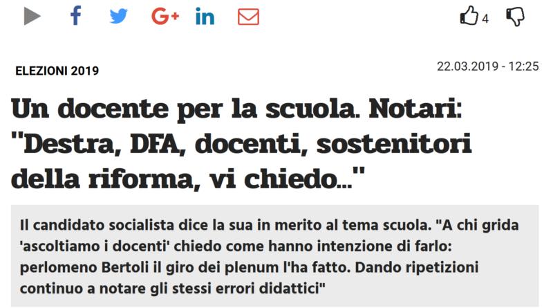 Titolo articolo sulle riforme scolastiche su TicinoLibero